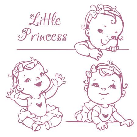 Set con pequeño bebé lindo con el pelo rizado, arco que lleva, tutú rosado. Retrato de niño sonriente feliz un año de edad. Pequeña princesa sentado, tumbado, sonriendo. Monocromo ilustración vectorial incompleta.