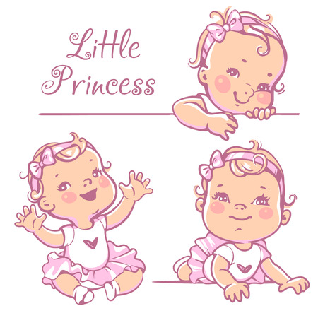 child sitting: Set with cute little baby girl with curly hair, wearing bow, pink tutu. Portrait of happy smiling child one year old. Little princess sitting, lying on white background. Colorful vector illustration. Illustration