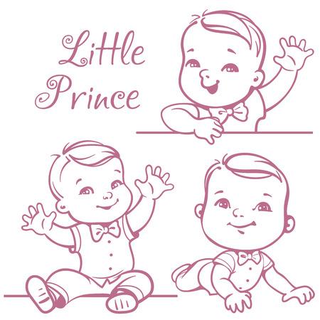 Set mit niedlichen kleinen Baby-Junge trägt Fliege, weißes Hemd. Portrait von glücklich lächelnden Baby ein Jahr alt. Kleine Prinz sitzt, liegen auf weißem Hintergrund. Monochrome skizzen Vektor-Illustration. Vektorgrafik