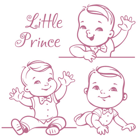 Set with cute little baby boy wearing bow tie, white shirt. Portrait of happy smiling baby one year old. Little prince sitting, lying on white background. Monochrome sketchy vector illustration.