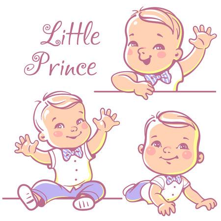 Set met schattige kleine baby boy 6-12 maanden dragen vlinderdas, wit overhemd. Portret van gelukkig lachende baby een jaar oud. Kleine prins zittend, liggend op een witte achtergrond. Kleurrijke vector illustratie.