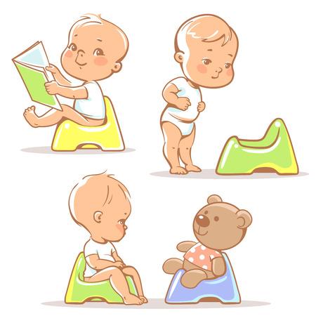 aprendizaje: Conjunto de pequeños bebés lindos que se sientan en insignificante. ilustración entrenamiento. Niño aprender a usar el libro de lectura niño de edad potty.1 año. Bebé feliz con el juguete. Los niños del vector aislados sobre fondo blanco.