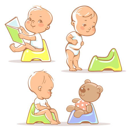potty training: Set of cute little babies sitting on potty. Potty training illustration. Toddler learning to use potty.1 year old kid reading book. Happy baby with toy. Children vector isolated on white background.