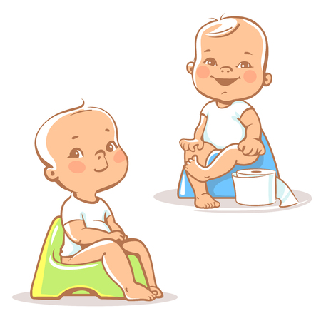 Set with cute little babies sitting on potty. Potty training. Toddler learning to use potty.One year old children hygiene.Children vector isolated on white background.