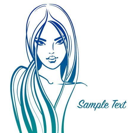 Mujer hermosa con el pelo largo y ondulado. Ilustración de la manera aislada en el fondo blanco. chica cara decorativa. líneas elegantes, colores brillantes. Concepto para el salón de belleza, perfumería cosmética