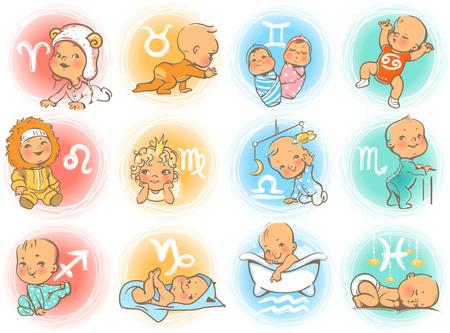 Conjunto de iconos del zodiaco Signos del horóscopo como personajes de dibujos animados. Lindos bebés y niñas como símbolo astrológico. Ilustración de vector colorido Bebé en pañal, gateando, sentado, sonriendo, durmiendo bebé. Ilustración de vector