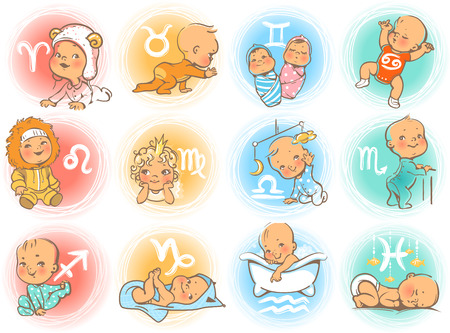 Set of zodiac icons. Horoscope signs as cartoon characters. Cute baby boys and girls as astrological symbol. Colorful vector illustration. Baby in diaper, crawling, sitting, smiling, sleeping baby. Stock Illustratie