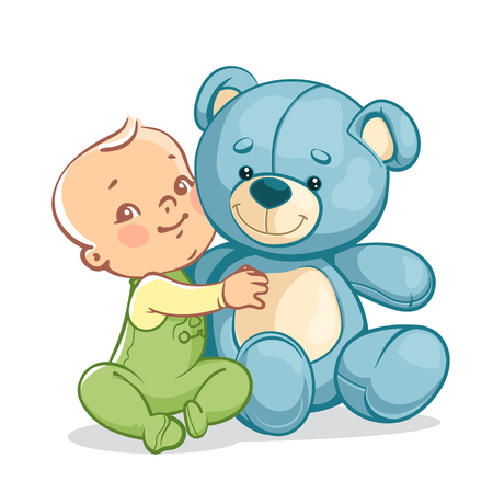 baby playing toy: Little baby boy with big toy. One year kid holding teddy bear. Child playing with toy friend. Happy smiling baby sitting, hugging blue teddy bear. Vector illustration isolated on white background.