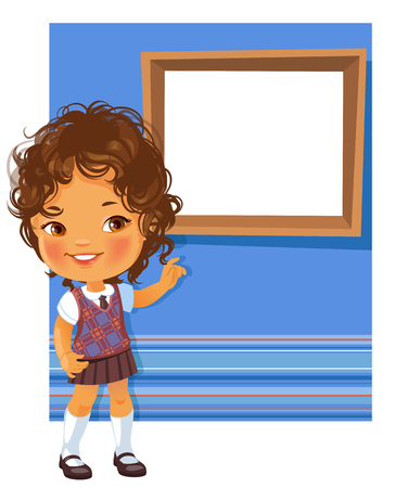 cover girls: Cute little girl wearing school uniform. Schoolgirl pointing at white text frame . Blue striped background with place for text. Design of card, invitation, book, notepaper cover.
