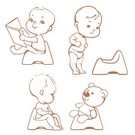 Set of cute little babies sitting on potty. Potty training illustration. Toddler learning to use potty.1 year old kid reading book. Monochrome sketchy vector isolated on white background.
