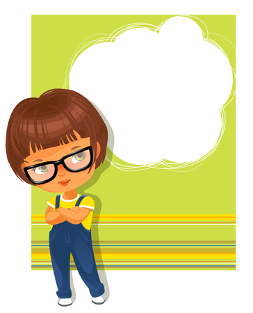 girl wearing glasses: Cute little girl wearing glasses. White text frame. Yellow-green striped background with place for text. Design of card, invitation, book, notepaper cover.