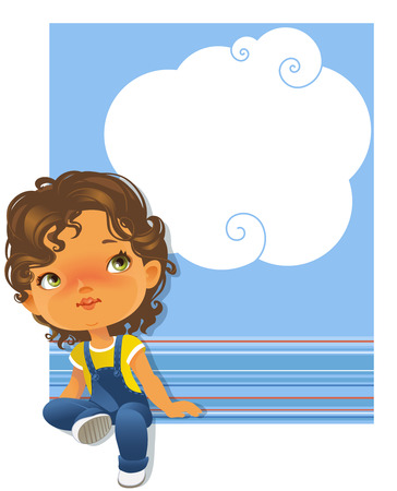 girl looking up: Cute little girl sitting looking up. Schoolgirl wearing jeans jumpsuit. White text frame . Blue striped background with place for text.. Design of card, invitation, book, notepaper cover.