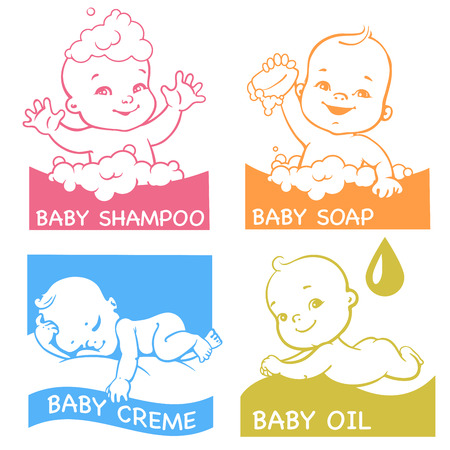 Cute little baby in bath, newborn lying on stomach, sleeping baby, smiling baby. Emblem for kids soap, shampoo, oil, creme, Vector illustration.