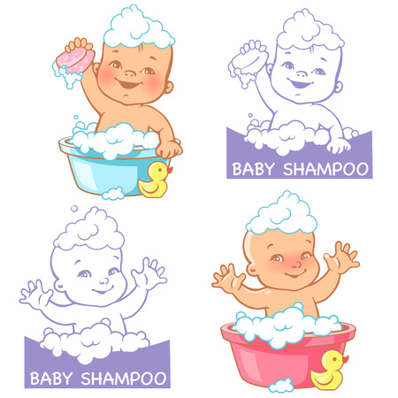Cute smiling little baby in the bath. Symbol of health and care. Colorful vector illustration.