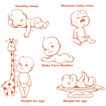 Schlafen, Schreien, glückliches Baby, Neugeborenen liegen auf dem Bauch, Kind auf der Waage, Kind in der Nähe von Wachstum Meter. Baby-Wachstum und Pflege Design-Vorlage.