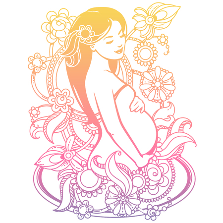 awaiting: Stylized isolated vector. Elegant figure of beautiful mother. Woman expecting baby, Colorful illustration for your product. Symbol of pregnancy. Design template.