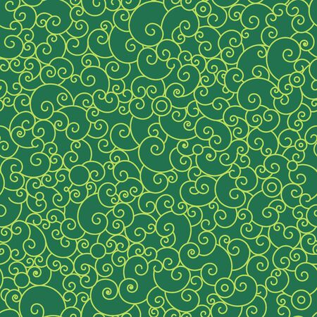 green swirl: Abstract swirl seamless pattern.Yellow shell shapes on green background. New year and christmas background,