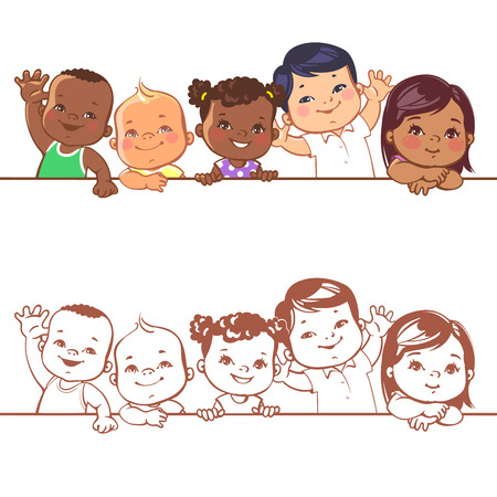 Multinational baby portrait. Multi-ethnic set of babies. Diverse nationalities. Toddlers holding blank banner. Vector illustration for school or kindergar en Vettoriali