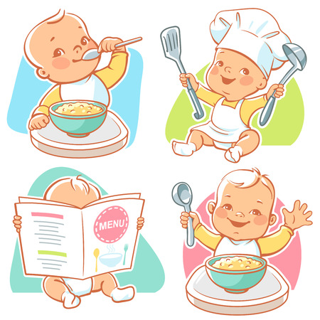 little baby breakfast Иллюстрация