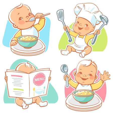 bebe sentado: poco bebé desayuno Vectores