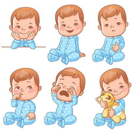 baby boy emotions set Иллюстрация