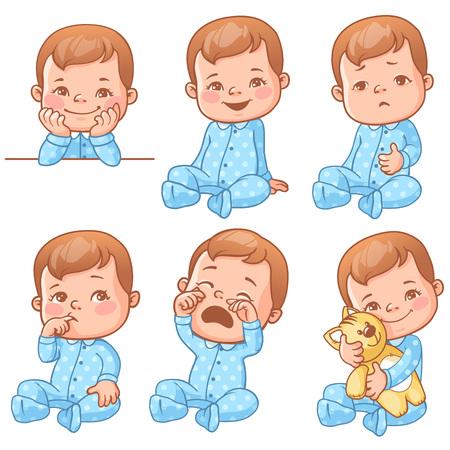 baby boy emotions set Illustration