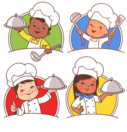 Set with cute cartoon kids as chefs. Multinational children with plate, spoon, wearing cook hat. African american boy, asian boy, latin girl, european toddler presenting national cuisine