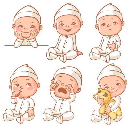 Set mit niedlichen kleinen Baby mit unterschiedlichen Emotionen. Verschiedene Gesichtsausdrücke. Glückliches Kind, Baby-Schrei, Kleinkind halten Plüschspielzeug, krankes Kind, schläfrig Junge, Mädchen weinen, Pyjama Baby. Bunte Vektor.