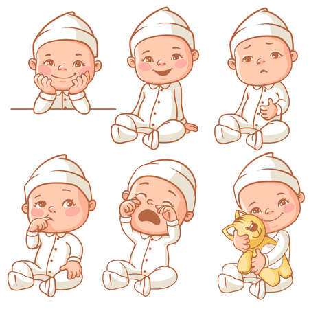 Set with cute little baby with different emotions. Various face expressions. Happy child, baby cry, toddler hold plush toy, sick child, sleepy boy, crying girl, pajama baby. Colorful vector.