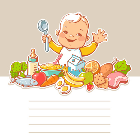 boy smiling: Happy smiling little boy sitting at table with food. Vector vegetables, fruits, meat, milk, bottle, dish. Blank text frame. Template for menu design. Kids nutrition infographic. Illustration