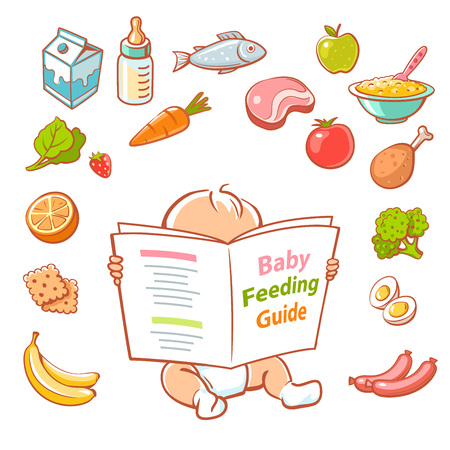 Cute little baby in diaper reading book. Baby feeding guide. Healthy meal for children. Set of vector cartoon vegetables, fruits, meat, milk icons. Smart kid read menu.