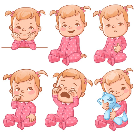 Set with cute little baby girl in pink pajama with different emotions. Various face expressions. Happy child, crying girl, sick baby, one year old smiling toddler hold plush toy, sick  Colorful vector
