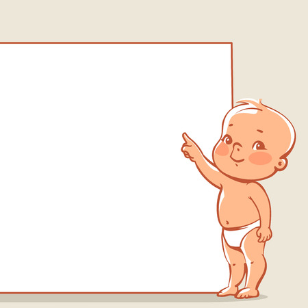 piccolo: Cute little baby in diaper near blank banner. Happy boy pointing at text frame. infographic template. Vector baby design  isolated.