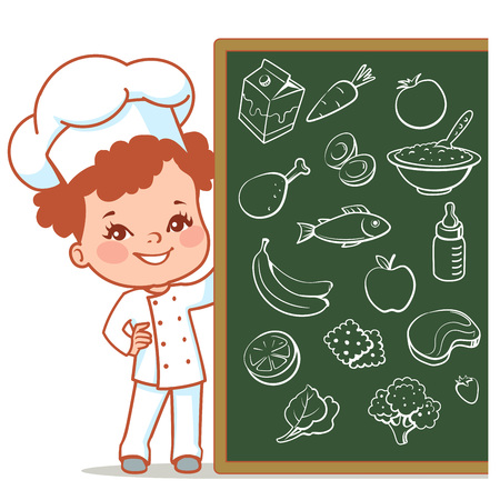 little child: Cartoon kid as little chef. Cute girl as cook. Happy child in chef hat. Smiling girl holding menu.  Set of vector food objects on blackboard. Vector illustration isolated on white background.