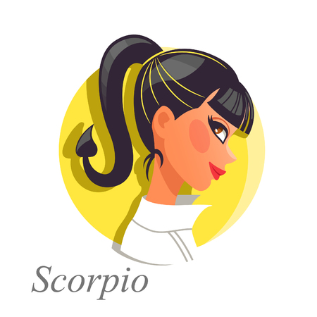 icon series: Beautiful woman as Scorpio zodiac sign. Astrological symbol Illustration