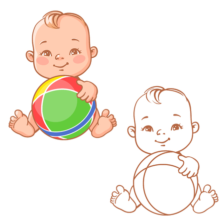 baby face: baby play with ball Illustration