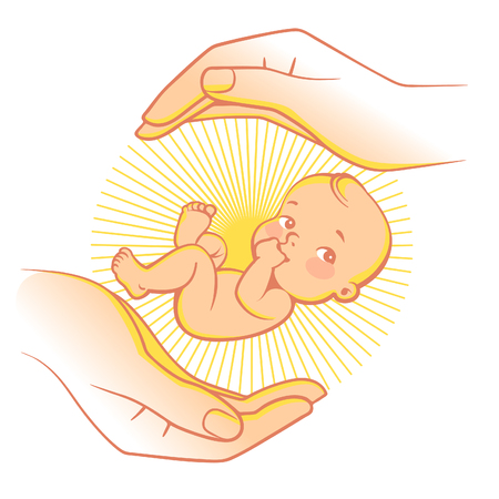 Logo of baby care, family love, protection, pregnancy. Concept of protect child. Parents hands. Childbearing. Newborn baby in safety. Symbol of in vitro fertilization. Vector color illustration.