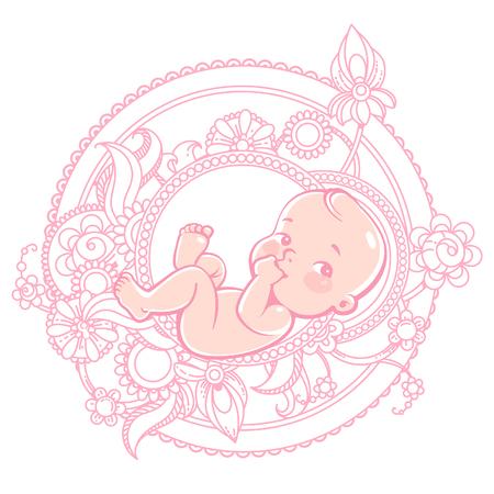 bebes recien nacidos: Pequeño bebé lindo que miente en modelo redondo. Bebé recién nacido en flores rosadas. Ilustración de color del vector. ilustración. Foto de archivo