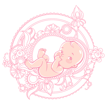 Cute little baby lying in round pattern. Newborn baby in pink flowers. Vector color illustration. illustration.