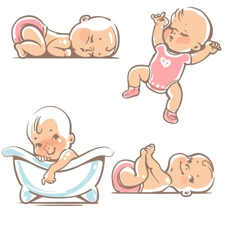 Set von süßen Babys. 0-12 Monate. Verschiedene Posen Aktivitäten im ersten Jahr. Schlafpositionen, auf dem Bauch, auf dem Rücken, die Beine in den Händen. Schwimmen im Bad Vektor-Illustration isoliert auf weißem Hintergrund