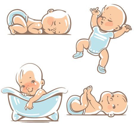 Set with cute baby boys 0-12 months. Various poses. First year activities. Sleeping positions, on stomach, on back, legs in hands. Swimming in bath. Vector Illustration isolated on white background Фото со стока