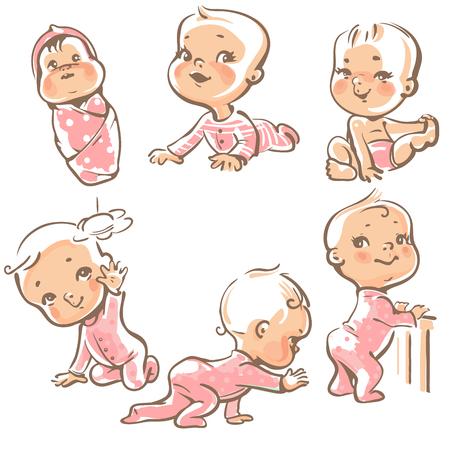 Set met schattige baby meisjes. De groei van pasgeboren tot kleuter. Diverse poses.First jaar. activiteiten. Kruipen, zitten, staan, spelen, lachen. Vector Illustratie op een witte achtergrond Stockfoto