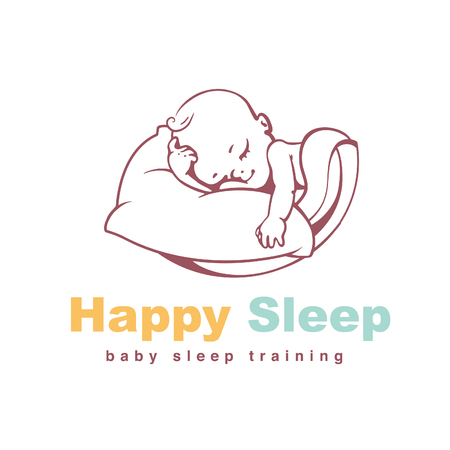 piccolo: Sleeping baby. Kid on soft pillow under blanket. Concept of safety and comfort. Healthy sleep. Sign for sleep training site. Baby care product. Line art vector illustration.