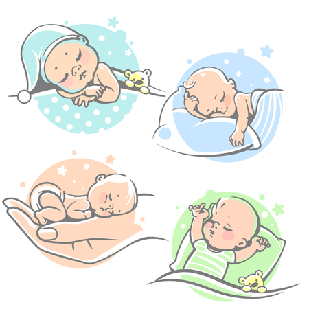 piccolo: Set with cute little baby sleeping.Children lying on pillow under blanket. Boy with teddy bear in bed. Girl sleep on stomach. Different sleeping positions. Sketchy style. Vector illustrations.