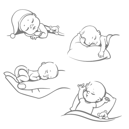 Set with cute little baby sleeping.Children lying on pillow under blanket. Boy with teddy bear in bed. Girl sleep on stomach. Different sleeping positions. Sketchy style. Vector illustrations.