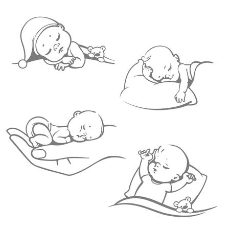 Set mit niedlichen kleinen Baby sleeping.Children auf Kissen liegt unter Decke. Boy mit Teddybären im Bett. Mädchen schlafen auf dem Bauch. Verschiedene Schlafpositionen. Flüchtiger Stil. Vektor-Illustrationen.