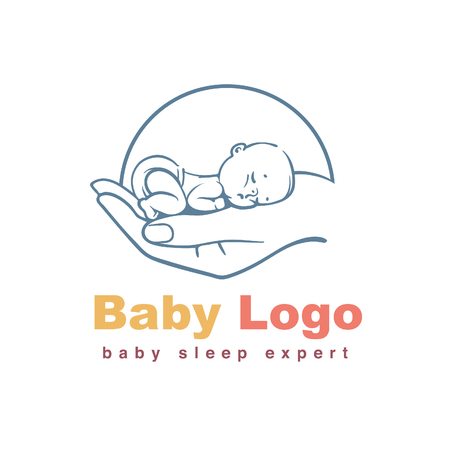 Baby sleeping on hand. Concept of baby care, safety, parenting, in vitro fertilization. Emblem for sleep training center, Sign for sleep expert. Line art vector illustration.