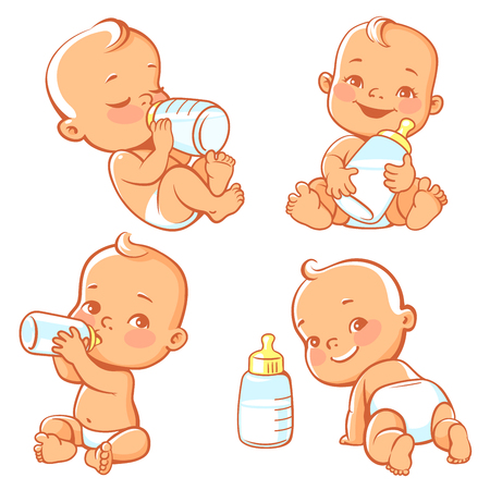 Set with cute little baby with bottle of milk. Baby boy or girl in diaper holding bottle. Newborn nutrition. Happy child drink milk. Emblem for formula or milk. Feeding newborn. Vector illustration.