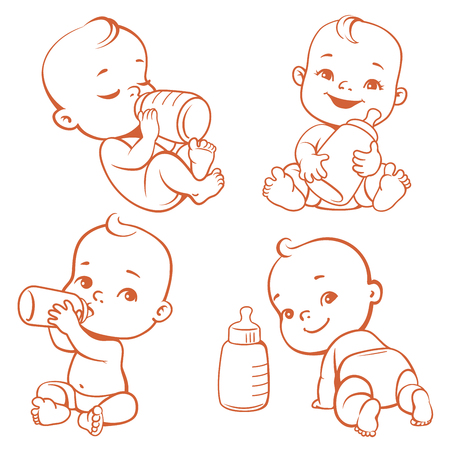 Set with cute little baby with bottle of milk. Little baby drink milk. Happy newborn eating. Sleeping, crawling, smiling baby in diaper. Child feeding symbol. One color line art vector illustration. Stock Photo