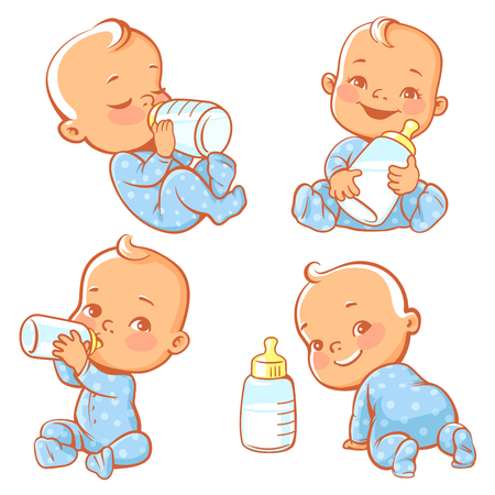 Set with cute little baby with bottle of milk. Newborn baby boy in blue pajamas drink. Baby nutrition. Feed newborn with formula or mothers milk. Happy child smile, crawl, sit. Vector illustration.